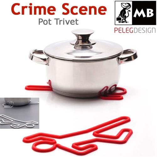凶器は鍋。殺人現場みたいな鍋敷き「Crime Scene Trivet」