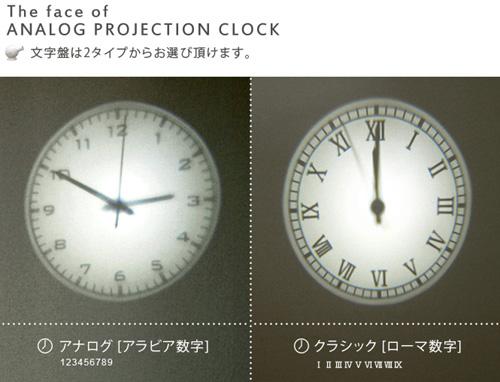 プロジェクター型時計「Projection Clock」の文字盤は2種類